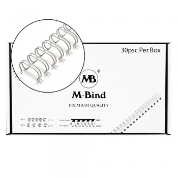 """M-Bind Double Wire Bind 2:1 A4 - 1-1/2""""(38mm) X 23 Loops, 30pcs/box, White"""