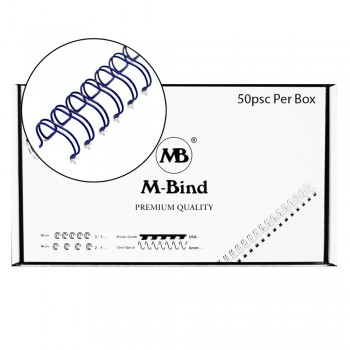 """Double Wire Bind 3:1 A4 - 5/8""""(16mm) X 34 Loops, 50 pcs/box, Blue"""