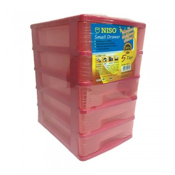 NISO 5 Tier Small Drawer Pink 17 x 4.5 x 12cm